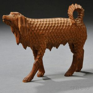 Folk Carved Wooden Walking Spaniel Figure