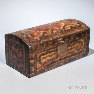 Paint- and Smoke-decorated Pine Dome-top Box