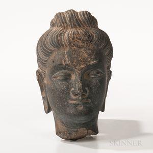 Gandharan Gray Schist Buddha Head