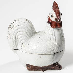 Ceramic Rooster-form Covered Dish