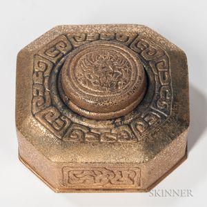 Tiffany Studios Bronze Zodiac Inkwell