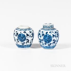 Near Pair of Miniature Blue and White Covered Jars