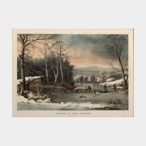 Currier & Ives, publishers (American, 1857-1907)  WINTER IN THE COUNTRY: Getting Ice.