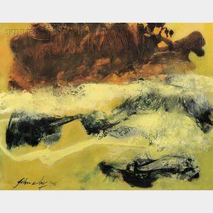John Way [Wei Letang] (Chinese/American, b. 1921)      Untitled [Yellow Landscape]
