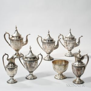 Lincoln & Foss Seven-piece Coin Silver Coffee and Tea Set