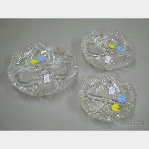 Three Hoare Cut Glass Dishes