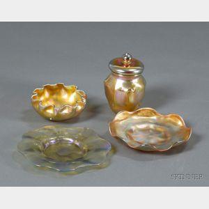 Tiffany Bowl, Plate, Dish and Covered Jar