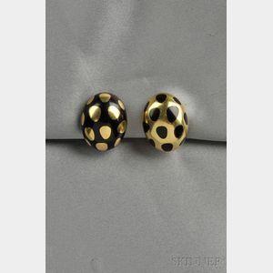 18kt Gold and Black Jade Earclips, Tiffany & Co.