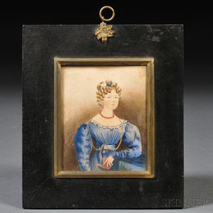British School, 19th Century      Small Portrait of a Young Lady Wearing a Blue Gown and Holding a Red Book.