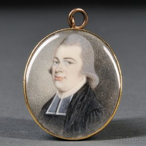 Possibly John Ramage (New York, 1748-1802)      Portrait Miniature of a Minister.