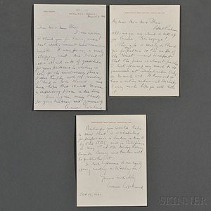 Copland, Aaron (1900-1990) Two Autograph Letters Signed, Ossining and Peekskill, New York, 19 October 1960, and 7 March 1961.