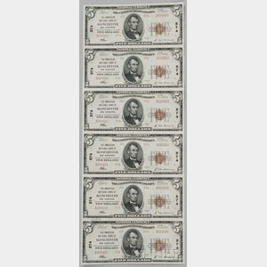 Sold for: $7,995 - 1929 The Amoskeag National Bank Uncut Sheet of Type 2 $5 Notes, PMG About Uncirculated 55