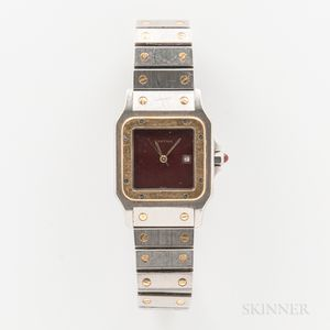 "Cartier Man's ""Santos Galbee"" Stainless Steel and 18kt Gold Automatic Wristwatch"