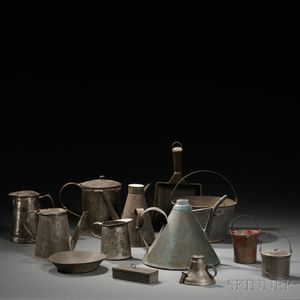 Twelve Pieces of Tinware and a Small Lead Pail
