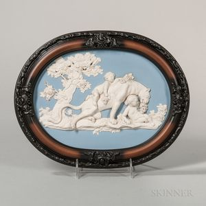 Wedgwood & Bentley Solid Blue Jasper Oval Jasper Plaque