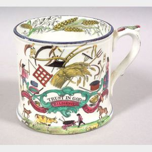 Polychrome Transfer Decorated Pearlware Mug