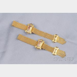 Pair of Victorian 14kt Gold Gem-set Slide Bracelets