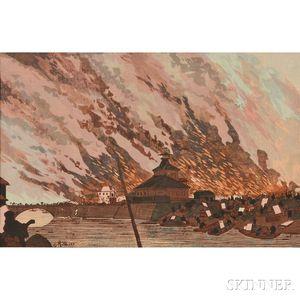 Kobayashi Kiyochika (1847-1915), Asakusa Bridge in Ryogoku Fire