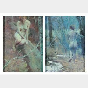 Zhang Hongnian (Chinese, b. 1947)      Two Works: Nude Walking Away