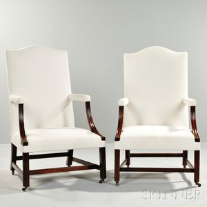 Near Pair of Chippendale-style Mahogany Lolling Chairs