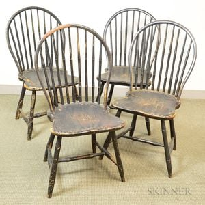 Two Pairs of Black-painted Bow-back Windsor Chairs