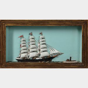 Shadow Box Diorama of an English Sailing Ship and Tugboat