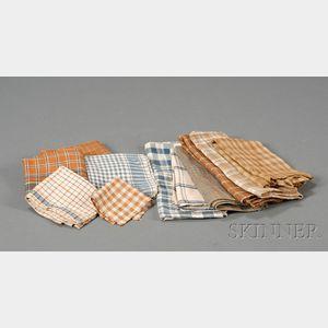 Eleven Homespun Linen Handkerchiefs and Dishcloths