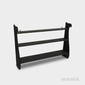 Black-painted Wood Three-tier Whale-end Hanging Wall Shelf