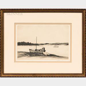 Thomas Willoughby Nason (American, 1889-1971)      Three Etchings: Boats, Penobscot Bay ,  Feeding the Chickens