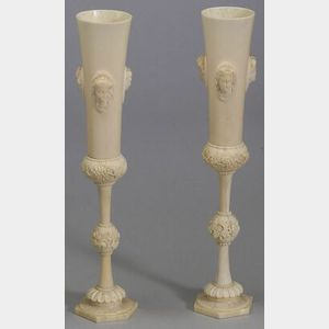 Pair of Continental Carved Ivory Footed Vases