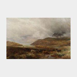 Charles Thomas Burt (British, 1823-1902)  Panoramic View with Cattle Watering