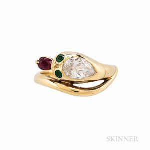 Diamond and Gem-set Snake Ring