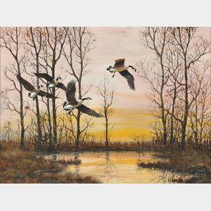 Robert Kennedy Abbett (American, 1926-2015)      Incoming Snow Geese