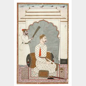 Mughal Miniature Painting Depicting a Prince