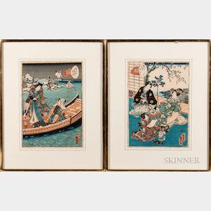 Utagawa Kunisada II (1823-1880), Two Woodblock Prints