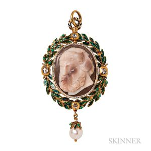Renaissance Revival Gold, Hardstone Cameo, and Enamel Pendant