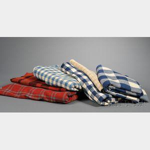 Six of Homespun Woven Wool Blankets