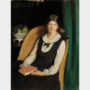 Adelaide Cole Chase (American, 1868-1944)      Portrait of a Young Girl Seated with a Book