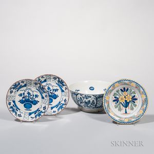 Three Delft Plates and a Punch Bowl