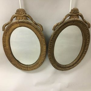 Pair of Neoclassical-style Gold-painted Pineapple Mirrors