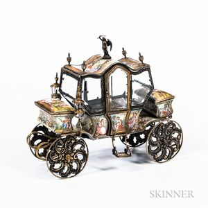 Austrian Silver-gilt and Enamel Miniature Carriage