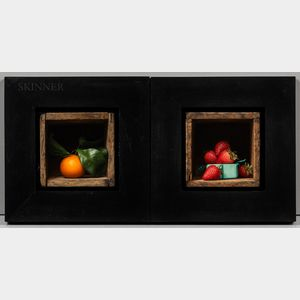 Sean Beavers (American, b. 1970)      Two Framed Still Lifes of Fruit: Strawberries