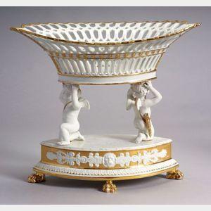 Paris Porcelain Parcel Gilt Centerpiece