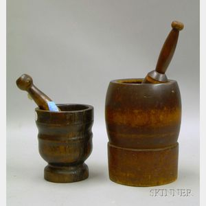 Two Turned-wood Mortars and Pestles.