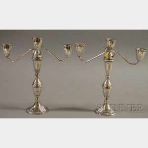 Pair of Duchin Sterling Silver Convertible Candelabra