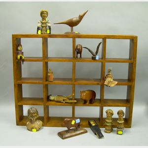 Collection of Sixteen Small Carved and Painted Wooden Figures and Other Items with a Wooden Display Shelf.e...