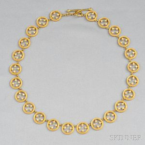 """18kt Gold and Diamond """"Filigree Circle"""" Necklace, Cathy Waterman"""