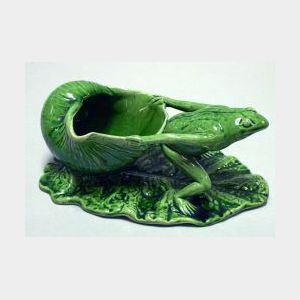 Watcombe Green Glazed Frog Pulling Shell on a Lily Pad Figural Group.