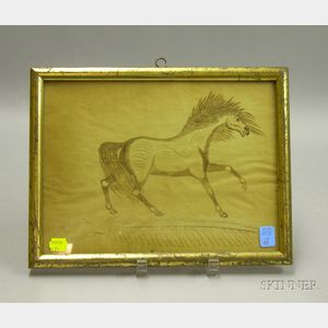 Giltwood Framed 19th Century Calligraphy Illustration Depicting a Horse