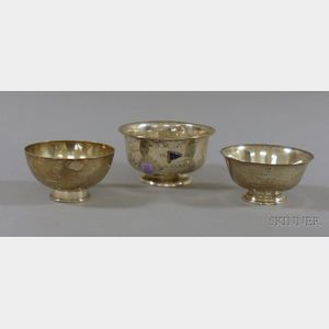 Three Small Sterling Revere-style Trophy Bowls